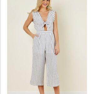 Everly midi grey striped jumpsuit with front tie